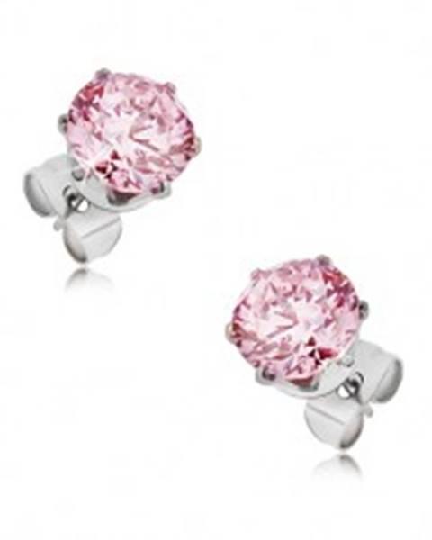 Oceľové puzetové náušnice - okrúhly ružový zirkón, rôzne veľkosti - Veľkosť zirkónu: 3 mm