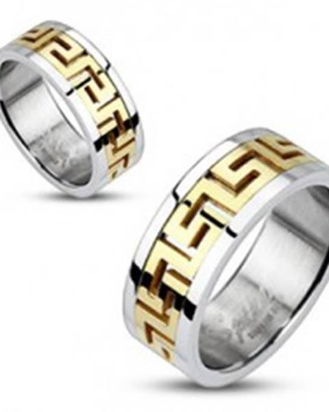 Oceľový prsteň striebornej farby - vsadený grécky motív zlatej farby - Veľkosť: 49 mm