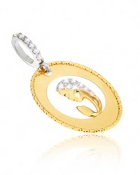 ccff99e2d Prívesok v žltom 14K zlate - oválny medailón, výrez, hlava ženy, zirkóny  GG11