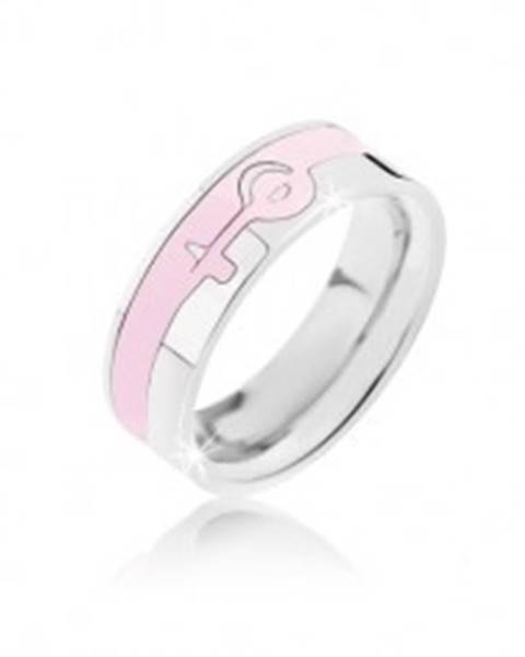 Prsteň strieborno-ružovej farby z ocele - ženský symbol - Veľkosť: 52 mm