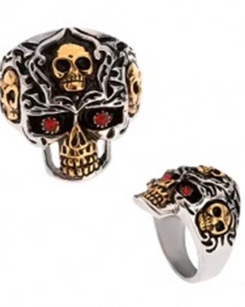 Prsteň z ocele 316L, lebka zlato-striebornej farby, červené kamienky - Veľkosť: 58 mm