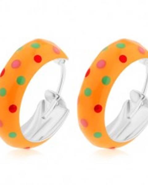 Strieborné 925 náušnice, malé kruhy, oranžová bodkovaná glazúra, 14 mm