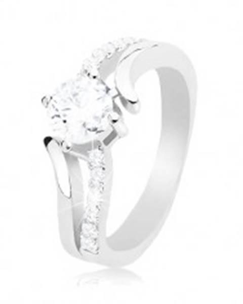 Strieborný prsteň 925, rozdvojené zvlnené ramená, okrúhly číry zirkón K09.06 - Veľkosť: 54 mm