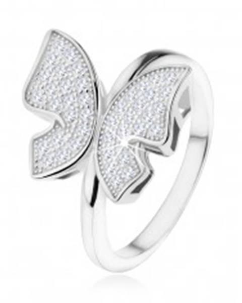 Strieborný prsteň 925, trblietavý motýľ vykladaný zirkónikmi čírej farby - Veľkosť: 48 mm