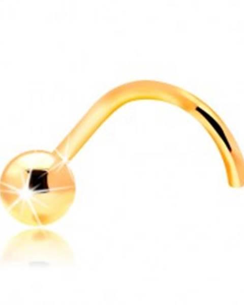 Zlatý 14K zahnutý piercing do nosa - lesklá hladká gulička