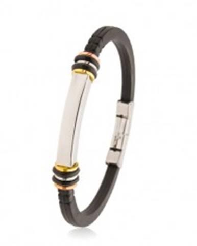 Náramok gumený čierny, oceľový hranol, trojfarebné kruhy, gumené kolieska AB35.05