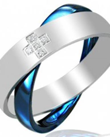 Oceľový dvojprsteň, modro - striebornej farby F8.1 - Veľkosť: 45 mm