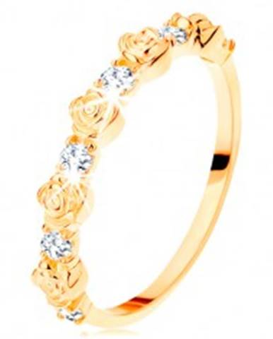 Prsteň zo žltého 14K zlata - striedajúce sa ružičky a okrúhle číre zirkóny GG109.38/41/110.01/03 - Veľkosť: 49 mm