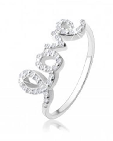 """Strieborný 925 prsteň, nápis """"love"""" vykladaný čírymi zirkónikmi SP58.05 - Veľkosť: 49 mm"""