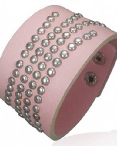 Vybíjaný ružový náramok z umelej kože U9.17