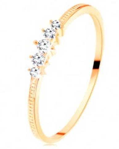 Zlatý prsteň 585 - pás trblietavých čírych zirkónikov, vrúbkované ramená GG110.32/38 - Veľkosť: 50 mm