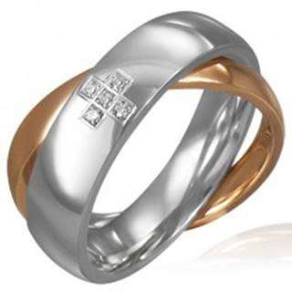 Dvojitý oceľový prsteň - zirkónový kríž, zlatá a strieborná farba - Veľkosť: 46 mm