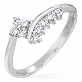 Jemný zásnubný prsteň - zirkónový kvietok a lemovanie - Veľkosť: 49 mm
