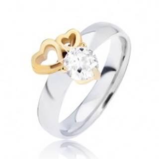 Lesklý oceľový prsteň so obrysmi sŕdc zlatej farby a čírym zirkónom L13.05 - Veľkosť: 49 mm