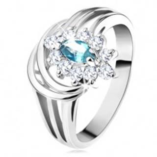 Lesklý prsteň s rozvetvenými ramenami, svetlomodré zirkónové zrnko, oblúčiky G10.25 - Veľkosť: 48 mm