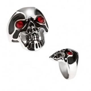 Masívny oceľový prsteň - lebka, čierna glazúra, červené oči BB3.14 - Veľkosť: 59 mm