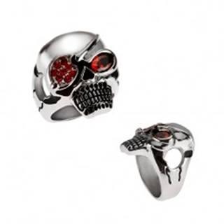 Masívny oceľový prsteň, lebka s páskou cez oko, červené zirkóny - Veľkosť: 59 mm