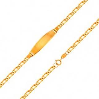 Náramok s platničkou zo žltého 18K zlata - retiazka zo zdvojených očiek, 160 mm