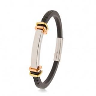 Náramok z čiernej gumy, hladká oceľová známka, štvorce zlatej a medenej farby AB34.14