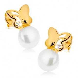 Náušnice zo žltého 9K zlata - ligotavý motýľ s čírym zirkónom, biela perla
