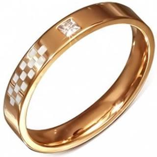Obrúčka ružovozlatej farby z ocele, biela šachovnica, zirkón BB5.3 - Veľkosť: 50 mm