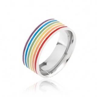 Obrúčka striebornej farby z ocele, farebné prúžky BB5.5 - Veľkosť: 52 mm