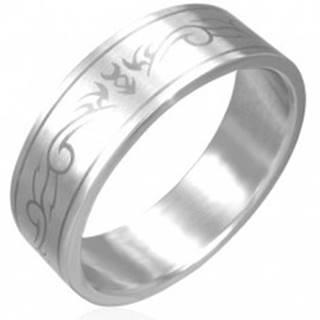 Oceľový prsteň - matný povrch, kmeňový motív - Veľkosť: 56 mm