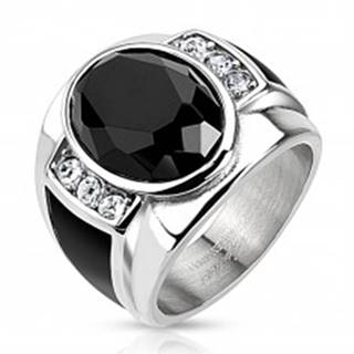 Oceľový prsteň s čiernym brúseným oválom, čírymi zirkónmi a čiernymi pásmi - Veľkosť: 59 mm