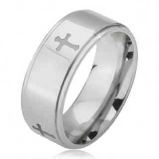 Oceľový prsteň striebornej farby, vyryté krížiky a znížené okraje, 6 mm K08.16 - Veľkosť: 52 mm