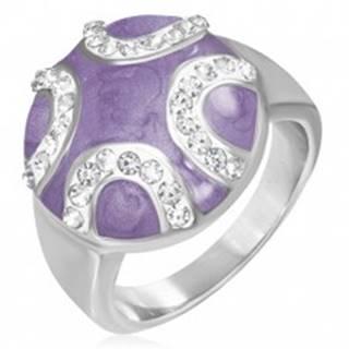 Oceľový prsteň - vypuklý fialový kruh, zirkónové polmesiace - Veľkosť: 51 mm