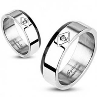 Oceľový prsteň - zrezaný čierny pás, zirkón v kosoštvorci - Veľkosť: 49 mm