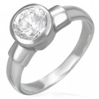 Oceľový snubný prsteň s veľkým zirkónovým očkom v kovovej objímke - Veľkosť: 49 mm
