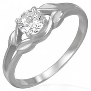 Oceľový zásnubný prsteň - číry zirkón v slučke - Veľkosť: 48 mm