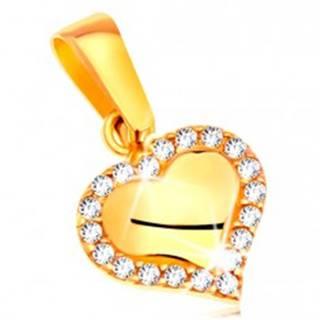 Prívesok v žltom zlate 585 - lesklé srdiečko lemované čírymi zirkónmi GG204.29