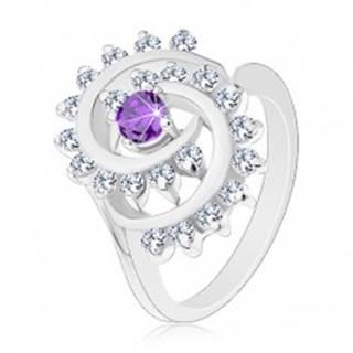 Prsteň striebornej farby, veľká špriála z čírych zirkónikov s fialovým stredom G15.15 - Veľkosť: 51 mm