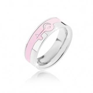 Prsteň strieborno-ružovej farby z ocele - ženský symbol BB4.11 - Veľkosť: 52 mm