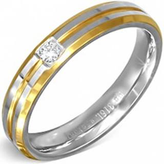 Prsteň strieborno-zlatej farby z ocele s malým čírym zirkónom BB5.7 - Veľkosť: 49 mm