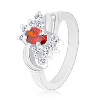 Prsteň v striebornom odtieni, oranžový ovál, číre zirkóniky, lesklé oblúky G14.24 - Veľkosť: 49 mm