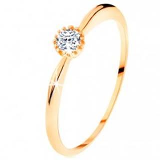 Prsteň v žltom 14K zlate - trblietavý číry zirkón, ramená s vypuklým povrchom - Veľkosť: 49 mm