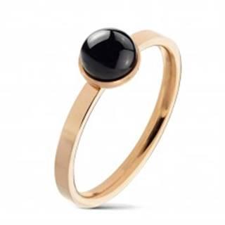 Prsteň z ocele 316L medenej farby, okrúhly čierny achát v objímke - Veľkosť: 49 mm