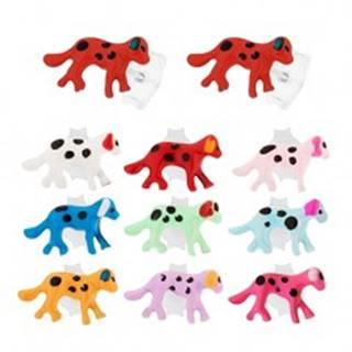 Puzetové náušnice - striebro 925, kráčajúci bodkovaný psík, farebná glazúra - Farba: Biela