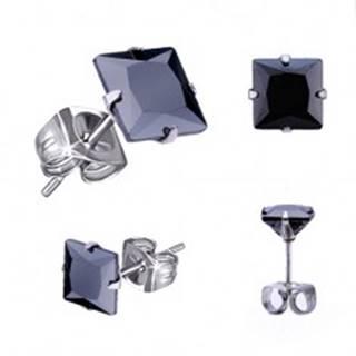 Puzetové náušnice z ocele, čierny štvorcový zirkón - rôzne veľkosti - Rozmer: 4 x 4 mm