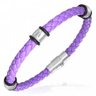 PVC pletený náramok - oceľové krúžky, fialový U9.7