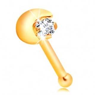 Rovný piercing do nosa zo žltého 14K zlata, kosáčik mesiaca, číry zirkón
