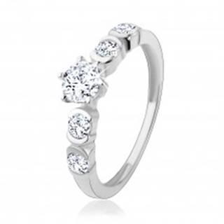 Strieborný 925 prsteň, okrúhle zirkóny čírej farby s lesklými oblúčikmi HH18.7 - Veľkosť: 49 mm