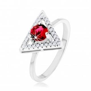 Strieborný 925 prsteň - zirkónový obrys trojuholníka, okrúhly červený zirkón SP54.10 - Veľkosť: 49 mm