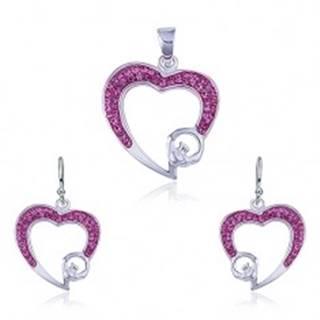 Strieborný set 925 - prívesok a náušnice, ružový zirkónový obrys srdca R14.9