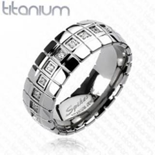 Titánový prsteň - zirkónový pás, vertikálne linky - Veľkosť: 59 mm
