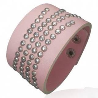 Vybíjaný ružový náramok z umelej kože