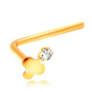 Zahnutý piercing do nosa, žlté 14K zlato, lesklý trojlístok a číry zirkón